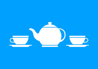 White teapot and teacup on blue background