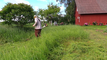Man with trimmer cut high grass in rural homestead house yard