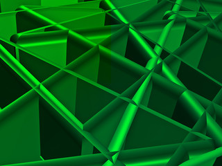 Structural abstract in green