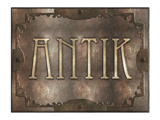 Antik - Metallplatte