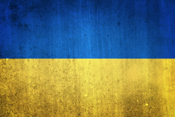 National flag of Ukraine. Grungy effect.