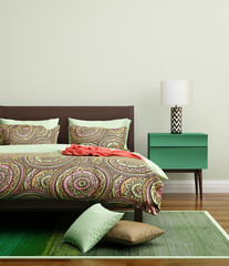 Contemporary fresh green bedroom with rug