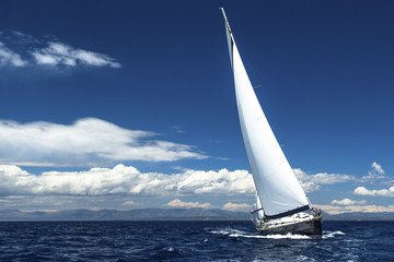 Sailing at ocean. Romantic trip luxury yacht.