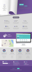 Flat Style One Page Website Template Vector Eps 10