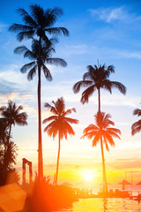 Beautiful sunset on a tropical beach.