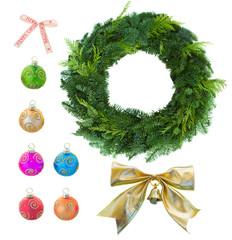 christmas set with green christmas wreath