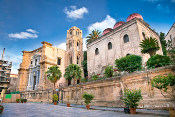 San Cataldo and  Martorana church, Palermo.  Sicily.
