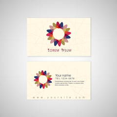 flower symbol background business card template