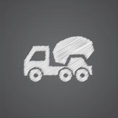 concrete mixer sketch logo doodle icon.