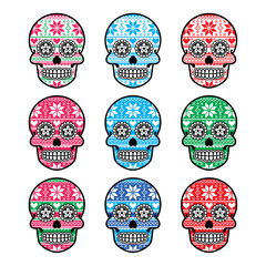 Mexican sugar skull with winter Nordic pattern