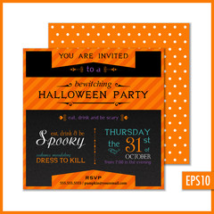 Halloween Party Invitation Black Orange