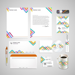 colorful triangle pattern background corporate identity set