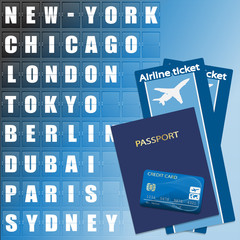 Airline ticket, credit card and passport