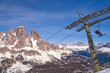 Ski slope in Dolomites, Italy