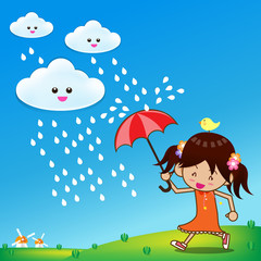 Little girl in rainny day 001