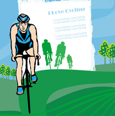 i love cycling banner - abstract frame with space for text
