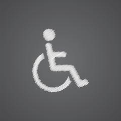 cripple sketch logo doodle icon.