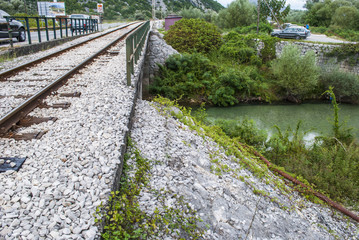 Railroad Track - Bridge Over River