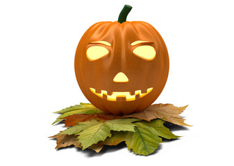 halloween pumpkin with fallen leaves isolated on white