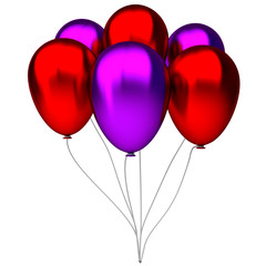 red and purple birthday balloons