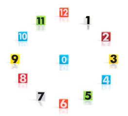 Colorful plastic numbers on a white background ,Clock number