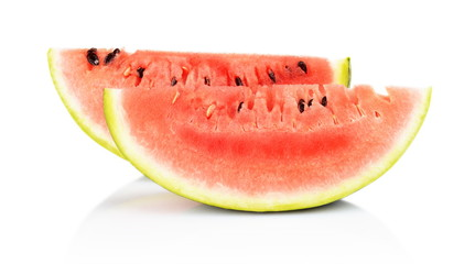 Slices and slice watermelon isolated white