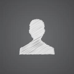 male profile sketch logo doodle icon.