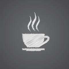 cap of tea sketch logo doodle icon.
