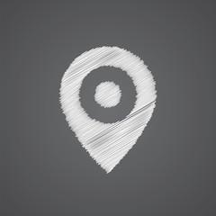 map pin sketch logo doodle icon.