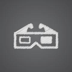 3d movie sketch logo doodle icon.