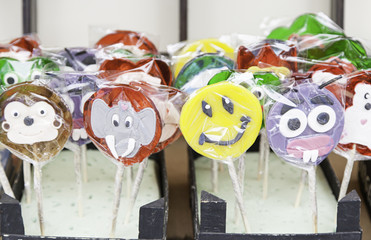 Colorful candy lollipops