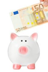 Sparschwein mit 50 Euro Geldschein