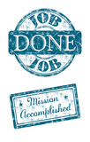 Job done and mission accomplished stamps poster