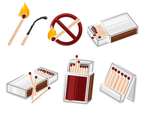 Matches, matchbox set. Vector