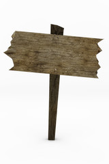 Wooden sign with worn appearance and bent nails.