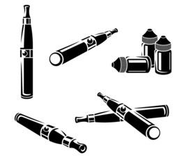 Electronic cigarettes set. Vector