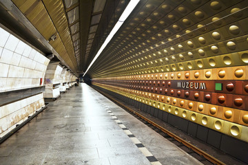 "The interior of the station ""Museum"" Prague metro"