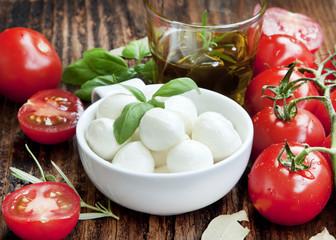Italian Mozzarella with Tomatoes,Olive Oil and Basil