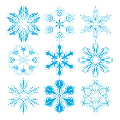Vector set of  lace snowflakes