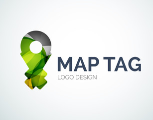 Map tag logo design made of color pieces