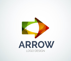 Arrow icon logo design made of color pieces