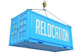 Relocation - Blue Hanging Cargo Container. poster