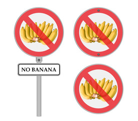 Circle prohibited sign for no banana allowed ,Isolated on white