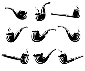 Tobacco pipes set. Vector