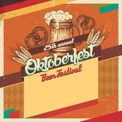 Oktoberfest beer festival vintage card