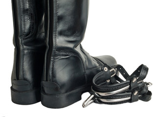 horse riding  boots and spurs isolated on white. close up