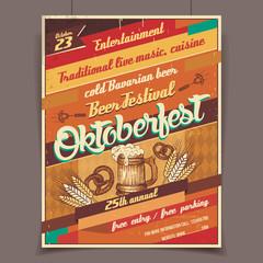 Oktoberfest beer festival retro poster