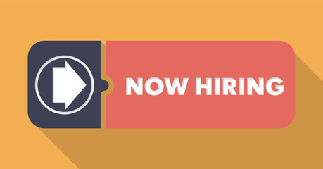 Now Hiring on Orange Background in Flat Design.