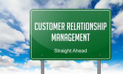 Customer Relationship Management on Highway Signpost.