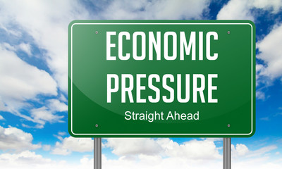 Economic Ppressure on Highway Signpost.